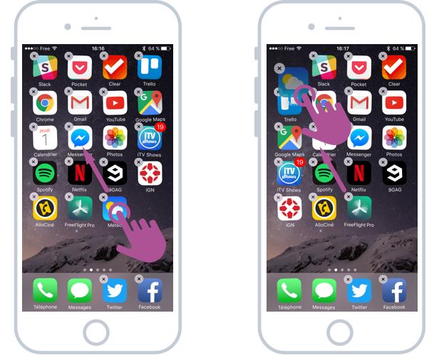 Réarranger l'ordre des apps sur l'écran d'accueil iOS