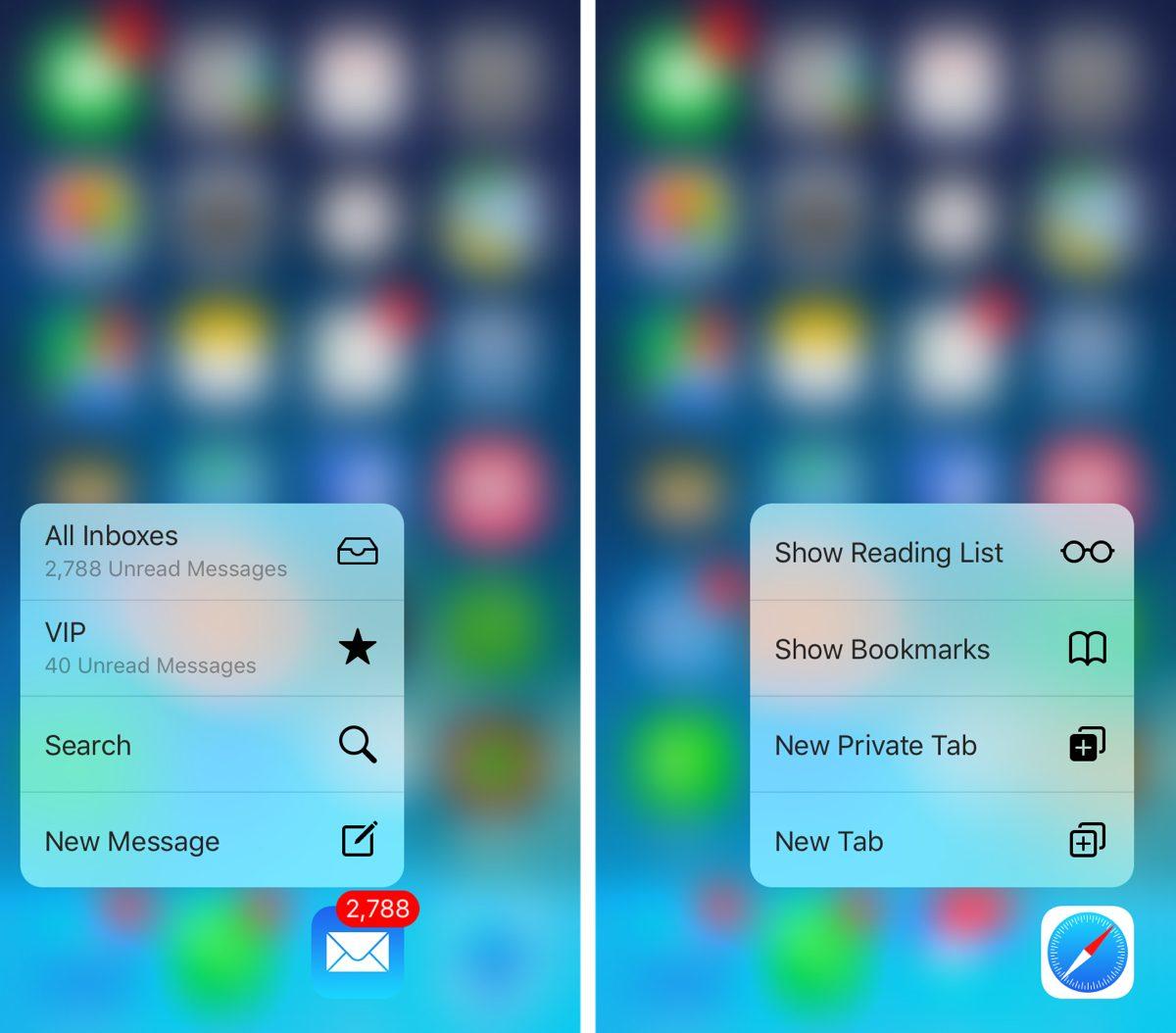 Lors d'un appui plus prononcé sur une app, on obtient un menu d'actions