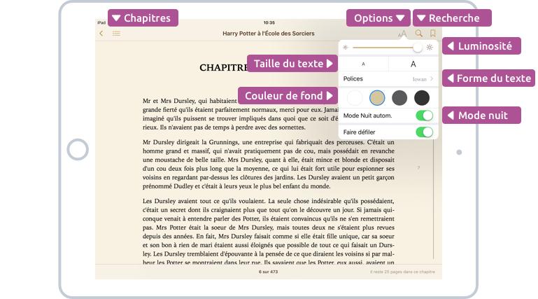 Les options d'iBooks pour changer la taille du texte, la couleur de fond et la luminosité