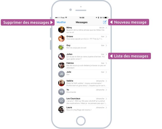 L'écran des messages