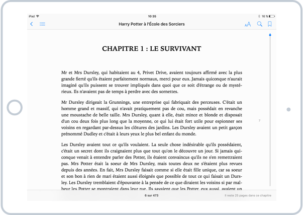 La lecture d'un ebook avec ibooks sur iPad