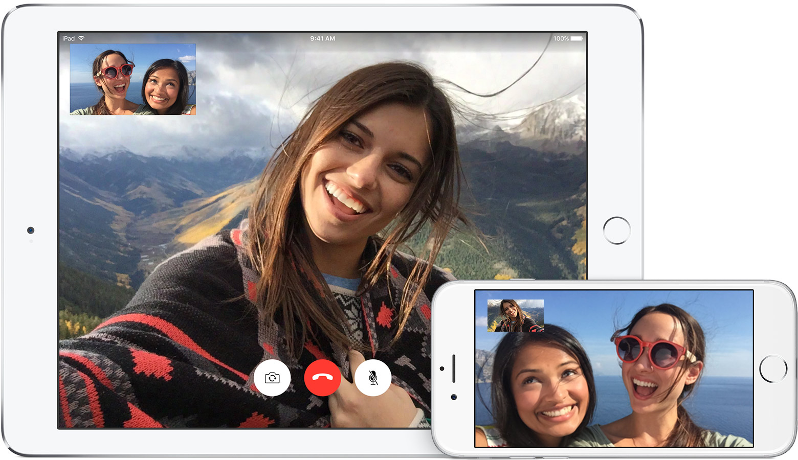 Une conversation Facetime entre l'iPhone et l'iPad