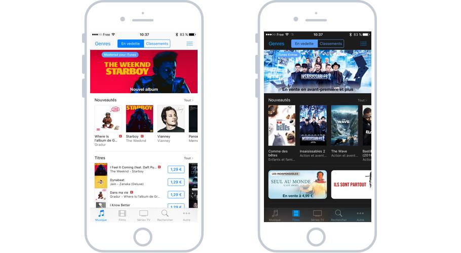 Séletion de musiques et films à acheter à l'unité sur iTunes Store