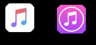 Les icônes d'iTunes et Apple Music sur iOS
