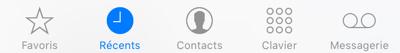 Contacts favoris, appels récents, contacts, clavier numérique, et répondeur