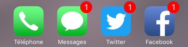 Les pastilles de notifications sur les icônes d'application iOS