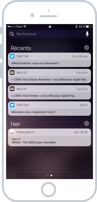 Le panneau de notifications iOS
