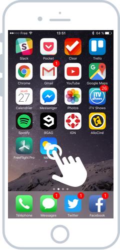 Appuyez sur l'icône de la météo pour lancer l'app
