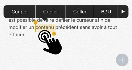 Tapez 2 fois rapidement sur l'écran pour sélectionner un mot et le copier