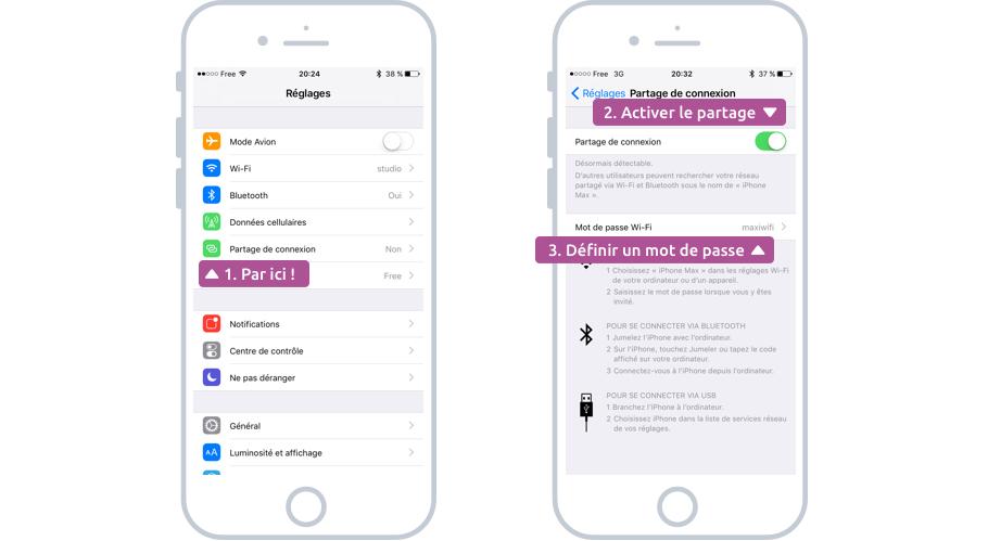 Activer le partage de connexion sur iPhone
