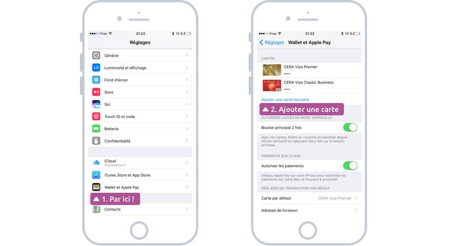 Ajouter une carte bancaire avec Apple Pay sur iPhone