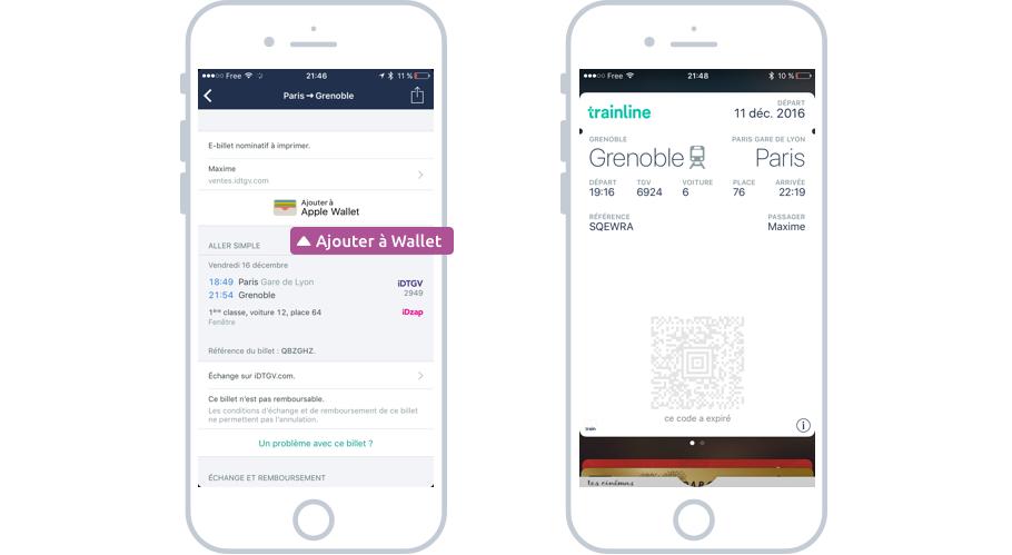 Ajouter un billet SNCF à Wallet