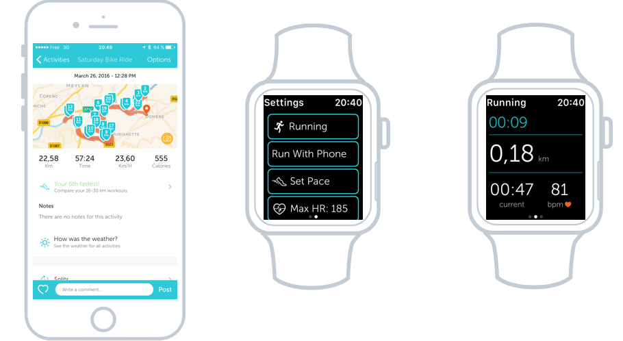 L'app runkeeper en version iOs et Watch