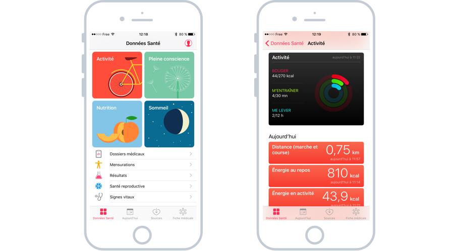 L'app de santé sur iOS
