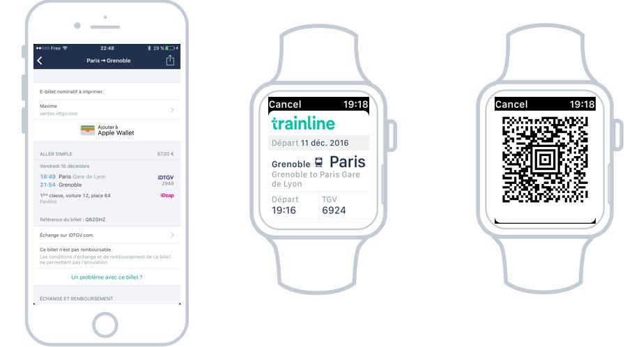 Les apps trainline pour iOS et Watch