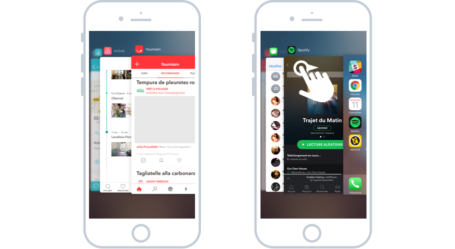 Basculer entre les apps ouvertes sur iOS
