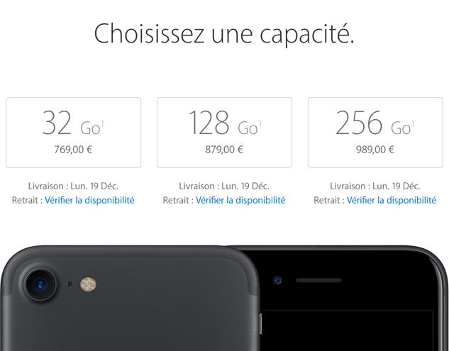 La capacité de stockage d'un iPhone