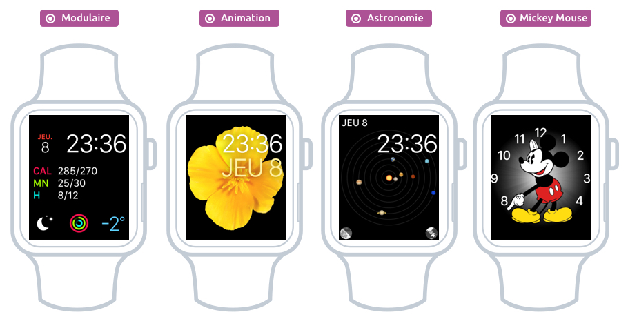 Quelques cadrans proposés par Apple Watch