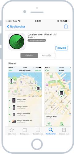 Vous pouvez également localiser vos appareils depuis l'App officielle