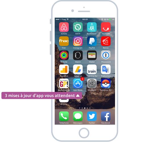 Des mises à jour d'apps sont disponibles