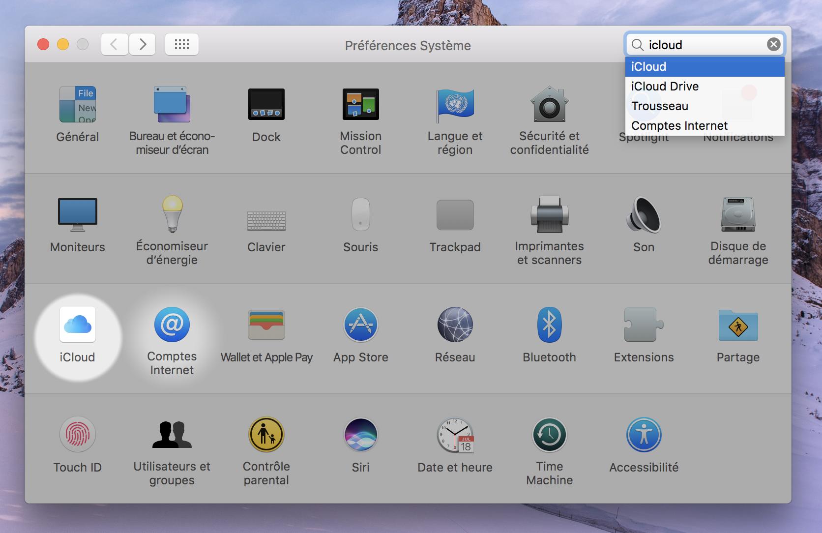 Le menu iCloud dans le panneau des préférences Mac