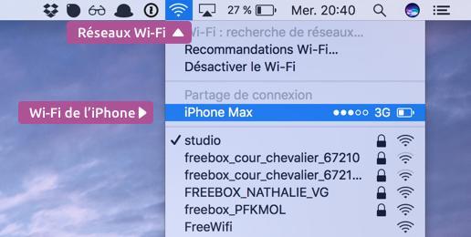 Votre réseau Wi-Fi distribué par l'iPhone apparait dans la liste des réseaux à portée