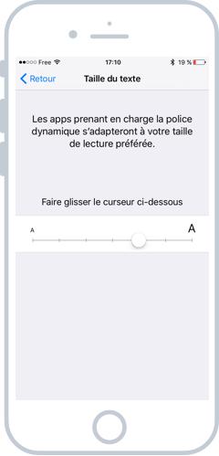 Changer la taille du texte dans les apps