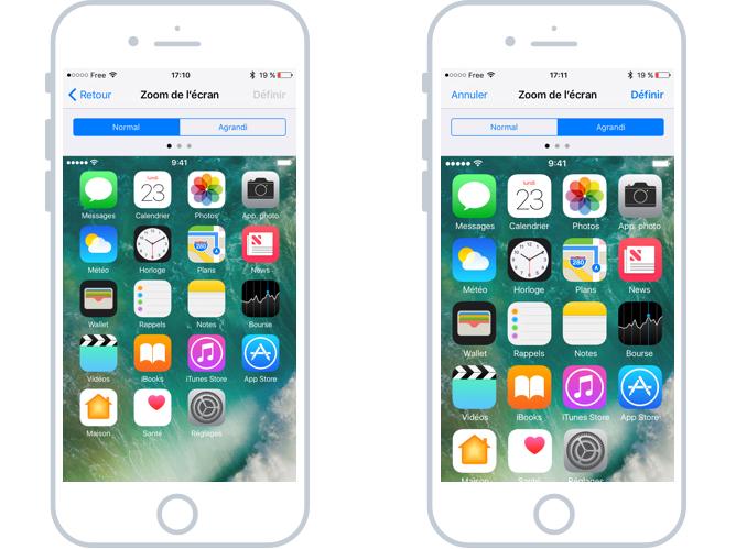 Vue standard et vue zoomée du système iOS