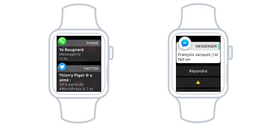 Les notifications apparaissent sur la Watch