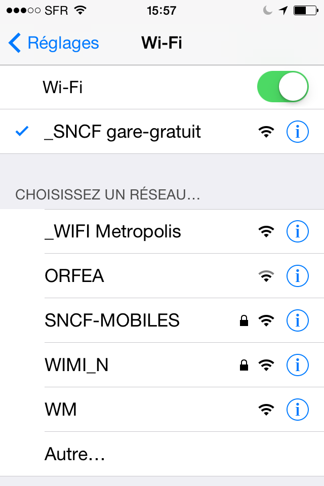 Réseau Wi-Fi public gratuit à la gare SNCF