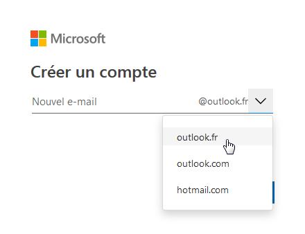 Créer un compte microsoft avec Outlook en choisissant parmi les terminologies proposées