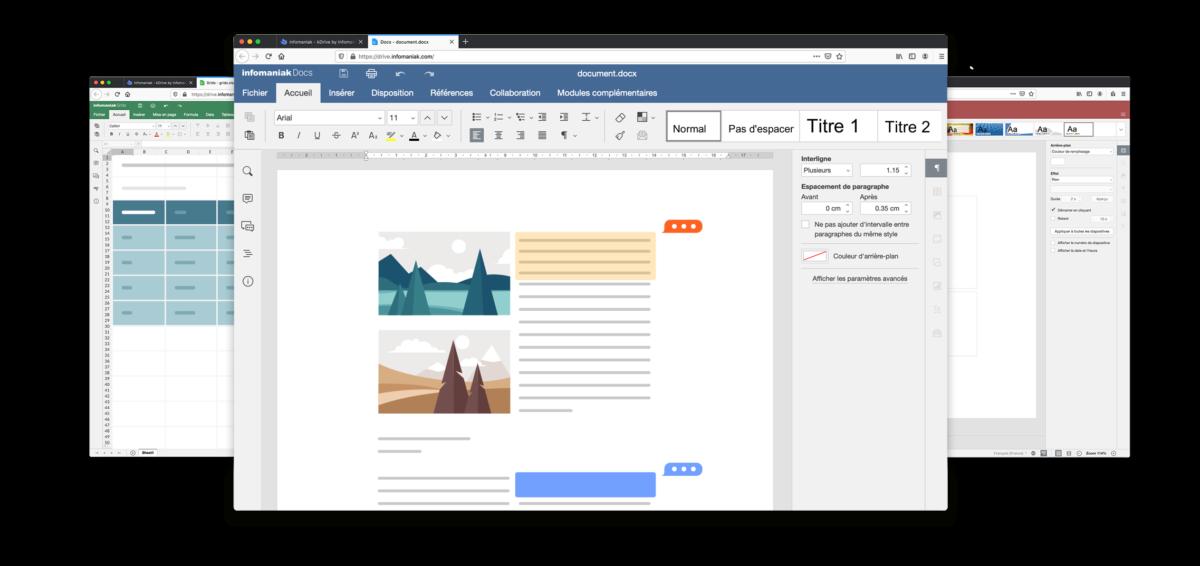 La suite bureautique de kDrive, 100% compatible Microsoft Office