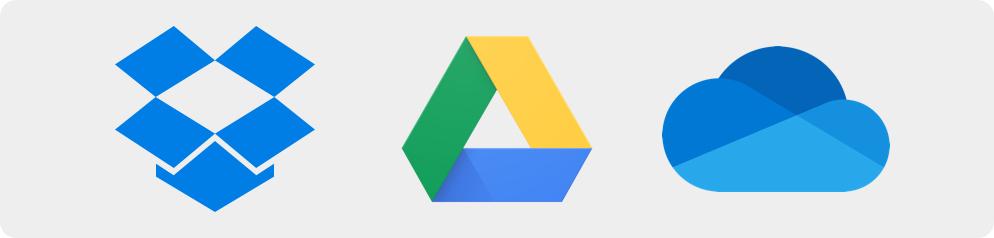 Les solutions classiques de stockage Cloud : Google Drive, DropBox, One Drive