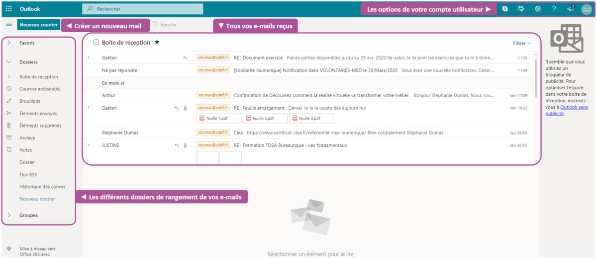 Voici une fenêtre d'aperçu de la boîte de réception Outlook : les messages au centre et les dossiers à gauche