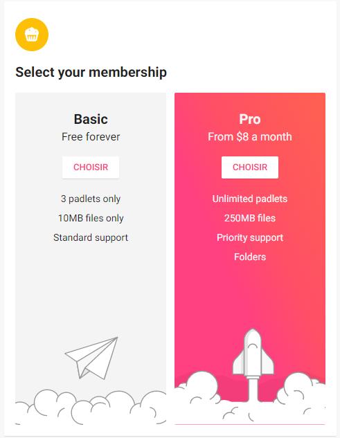 Version payante ou gratuite de Padlet, c'est à vous de choisir.