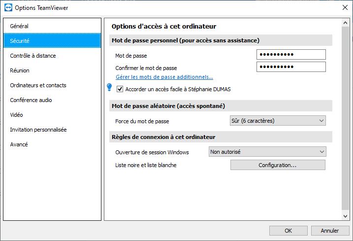 Configurer ses accès avec TeamViewer