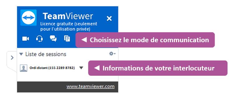 Encart de connexion entre deux ordinateurs sur TeamViewer