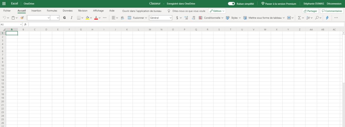 Un aperçu de l'écran d'Excel Online
