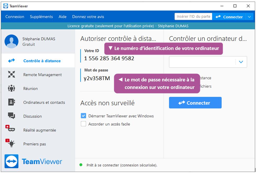 Présentation de l'ID et du mot de passe de l'ordinateur sur TeamViewer