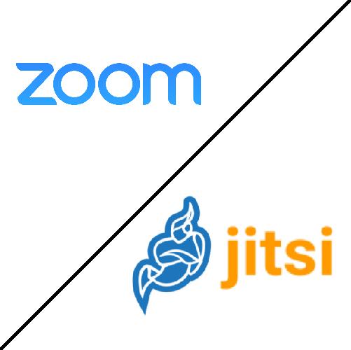 Logo des logiciels de visio conférence Zoom et Jitsi