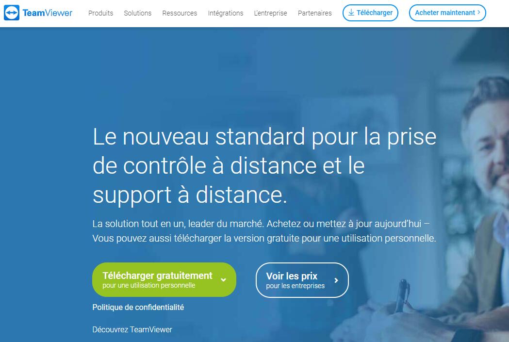 La page d'accueil du site de TeamViewer