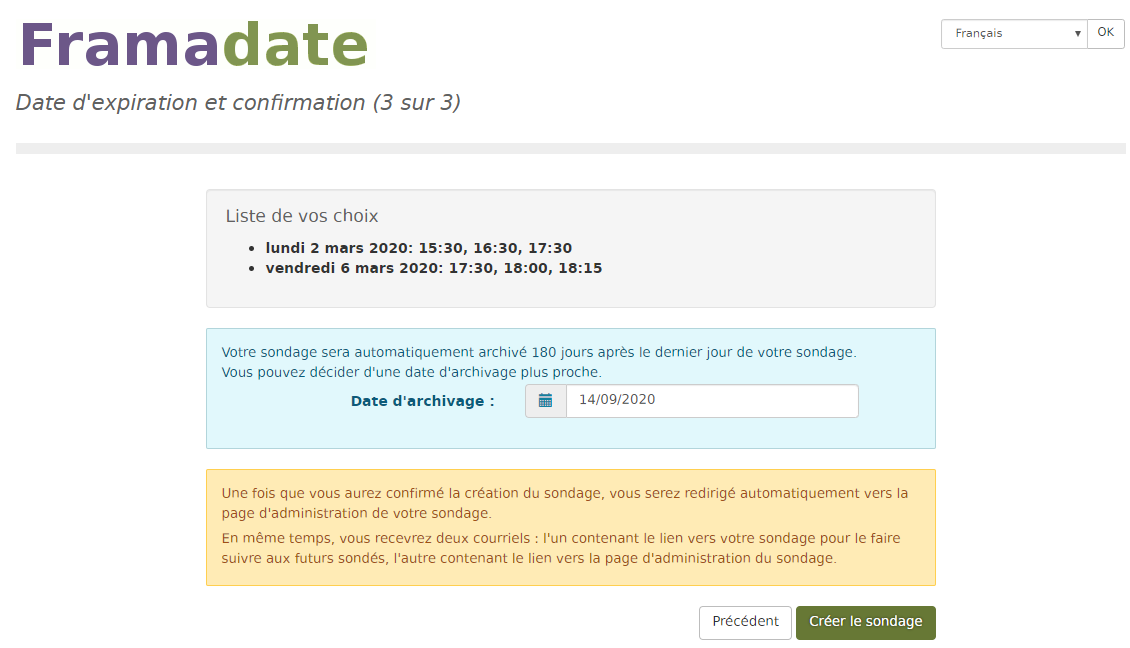 Vérification des informations transmise avec Framadate