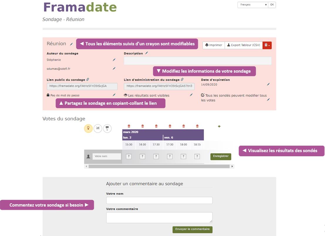 Modifier le Framadate et visualiser les réponses des sondés
