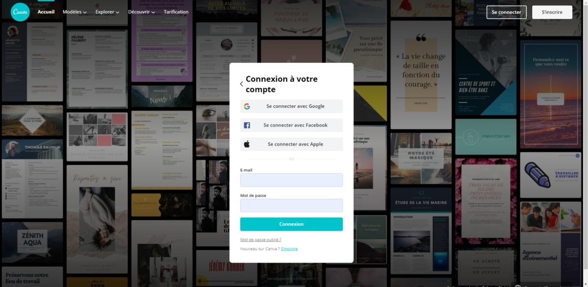 Lorsque vous arrivez sur Canva, vous êtes invité à vous créer un compte utilisateur