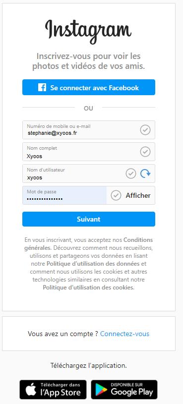 Accéder à l'interface de création de votre compte Instagram