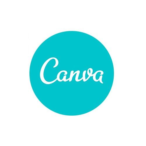 Le logo de canva est un texte blanc dans un cercle turquoise