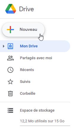Créer un document sur Google Drive