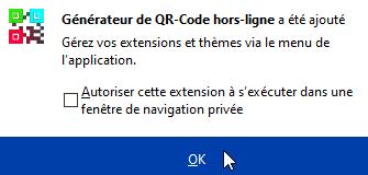 Autorisation de l'extension dans le navigateur