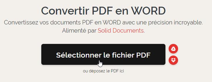 Bouton de sélection des fichiers à convertir sur Ilovepdf