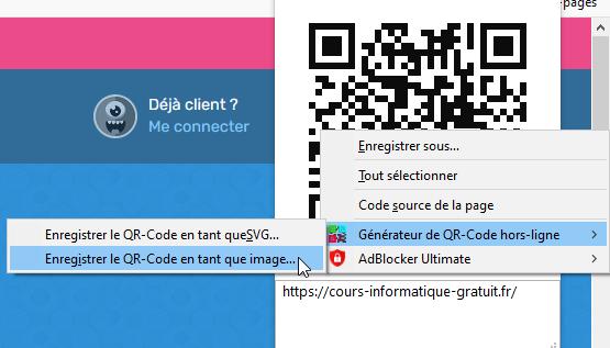 Créer un QR code avec l'extension de Mozilla Firefox